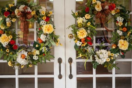 Glendale Lyceum front door wedding wreaths